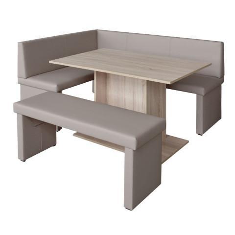 Rohová lavice MODERN capucino - PRAVÁ - + stůl Modern + lavice Modern