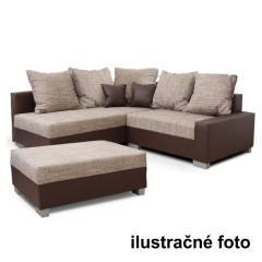 Sedací souprava s taburetem IDA šedá/béžová- LEVÁ