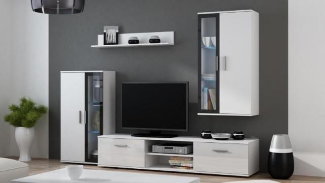 Obývací stěna Dora - bílá/černá