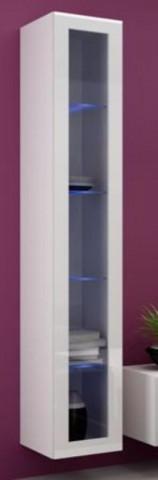 Vitrína VIGO vysoká, prosklené dveře - bílá - II. jakost