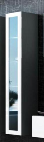 Vitrína VIGO vysoká, prosklené dveře, šedá/bílá - II. jakost