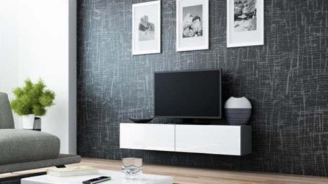 Televizní stolek VIGO 140 - šedá/bílá