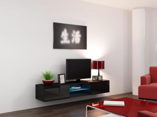 Televizní stolek VIGO Glass 180 - černá