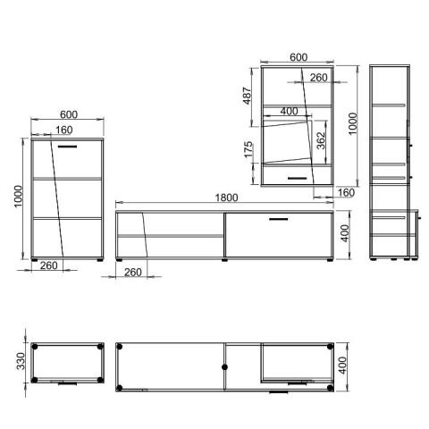 Obývací stěna PISA - černá/bílá