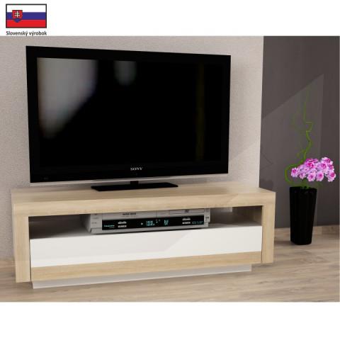 TV stůl AGNES - dub sonoma/bílá - II. jakost