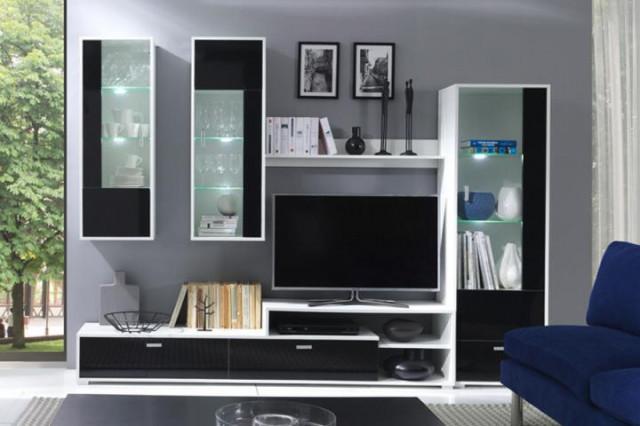Obývací stěna Messa 1 bílá / černý lesk