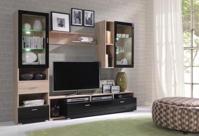 Obývací stěna Omega 1 sonoma / černý lesk
