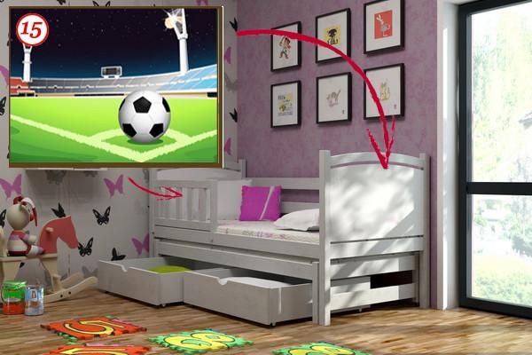 Dětská postel s výsuvnou přistýlkou DPV 005 - 15 Fotbalové hřiště KOMPLET