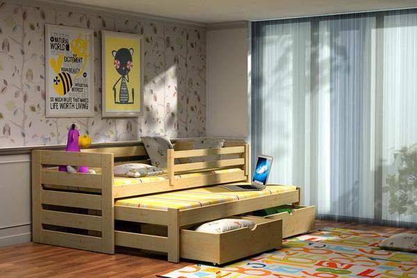 Dětská postel s výsuvnou přistýlkou DPV 007 + zásuvky