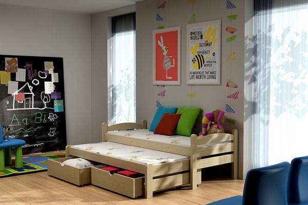 Dětská postel s výsuvnou přistýlkou DPV 010 + zásuvky