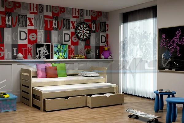 Vomaks Dětská postel s výsuvnou přistýlkou DPV 011 180 cm x 80 cm Barva bílá