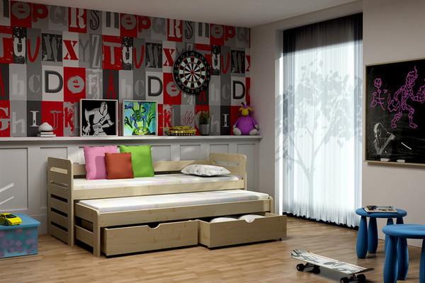 Dětská postel s výsuvnou přistýlkou DPV 011 + zásuvky