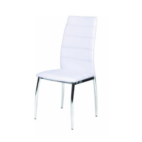 Židle DELA - bílá ekokůže / chrom