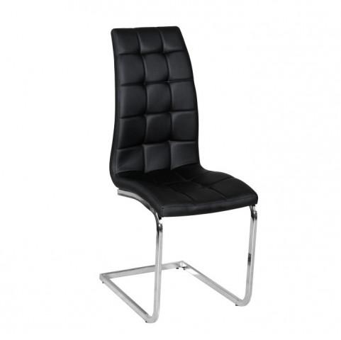 Jídelní židle DULCIA - černá ekokůže / chrom