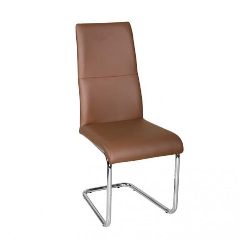 Jídelní židle BETINA - hnědá ekokůže / chrom