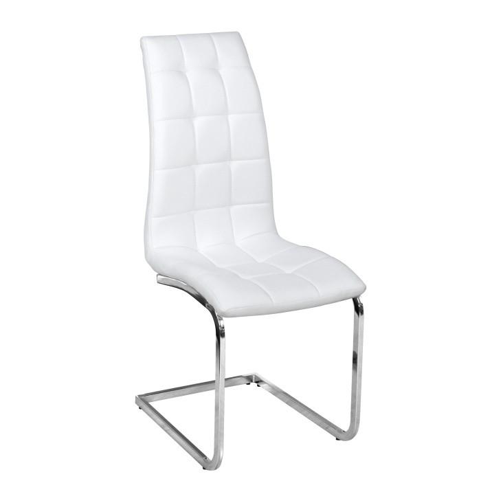 Tempo Kondela Jídelní židle DULCIA - bílá ekokůže / chrom + kupón KONDELA10 na okamžitou slevu 3% (kupón uplatníte v košíku)