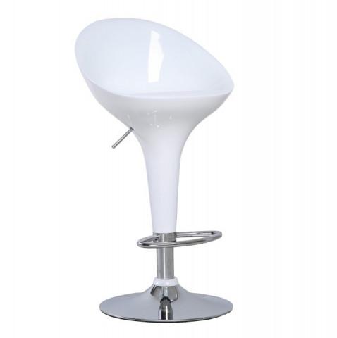 Barová židle ALBA NOVA - chrom / bílá