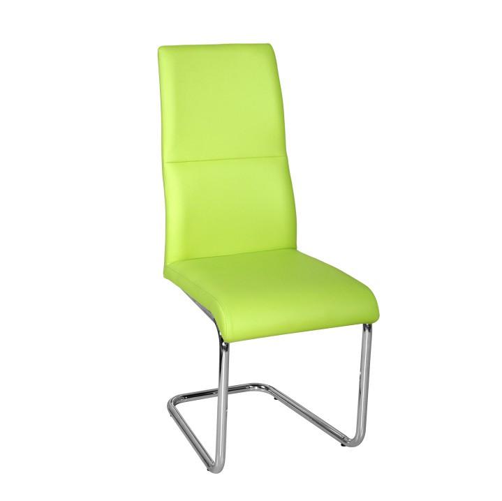 Tempo Kondela Jídelní židle BETINA -zelená ekokůže /chrom + kupón KONDELA10 na okamžitou slevu 3% (kupón uplatníte v košíku)