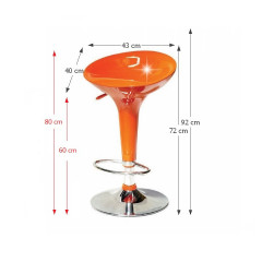 Barová židle INGE- oranžová / chrom