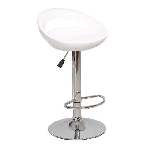 Barová židle DONGO NOVA - bílá / chrom