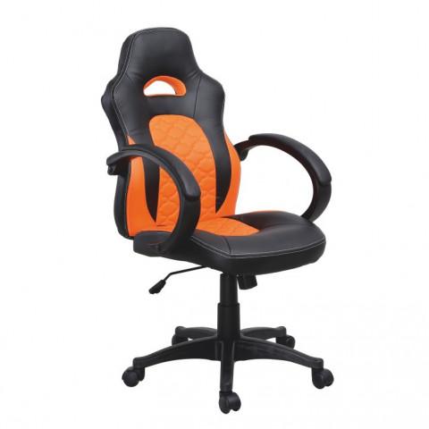 Kancelářské křeslo NELSON - černá ekokůže / oranžová ekokůže