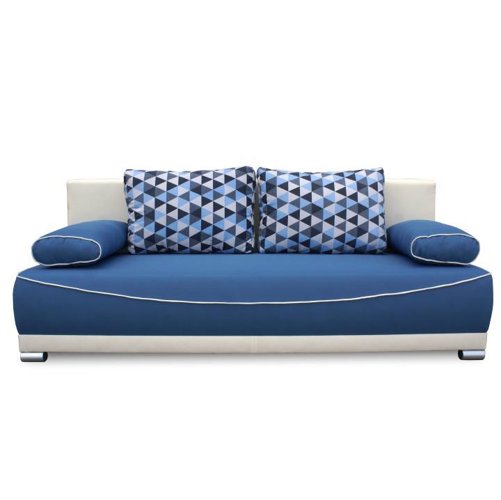 Tempo Kondela Pohovka DINAR - modrá / béžová / polštáře vzor