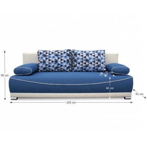 Pohovka DINAR - modrá / béžová / polštáře vzor