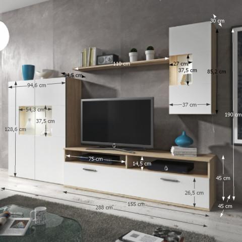 Obývací stěna FEITH - dub sonoma / bílá