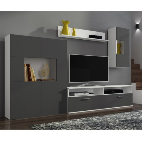 Obývací stěna FEITH - bílá / šedá