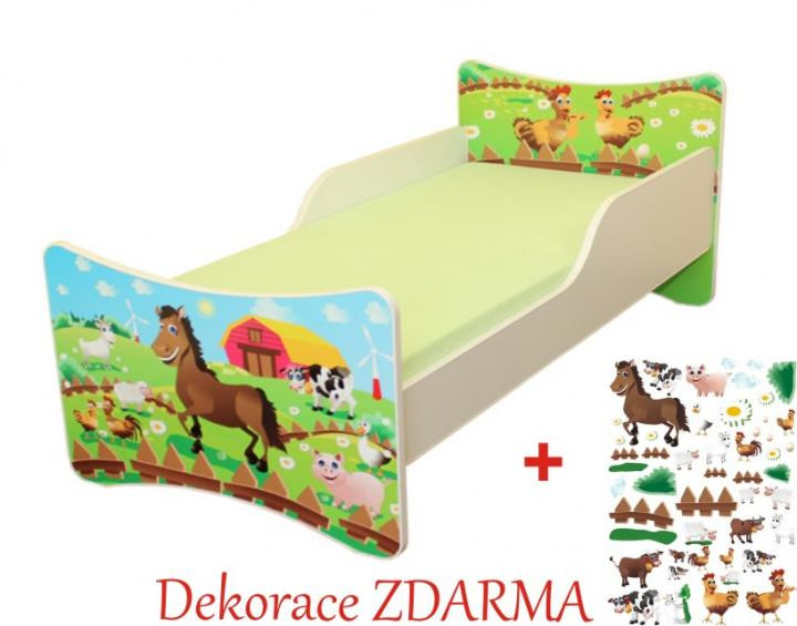 Forclaire Dětská postel Farma postel bez úložného prostoru140x70cm