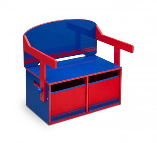 Dětská lavice s úložným prostorem modro - červená
