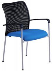 Jednací židle - TRITON NET - modrý sedák/černý opěrák