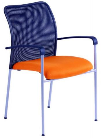 Jednací židle - TRITON NET - oranžový sedák/černý opěrák