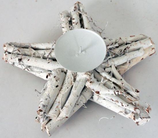 Svícen - hvězda - bílý