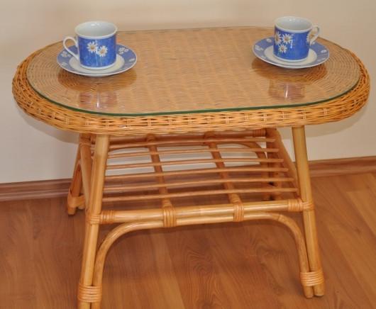 Axin Trading Ratanový stolek Fabion oválný - medový