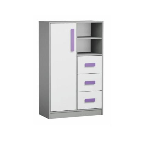 Komoda vysoká PIERE P05 - šedá/bílá/fialová