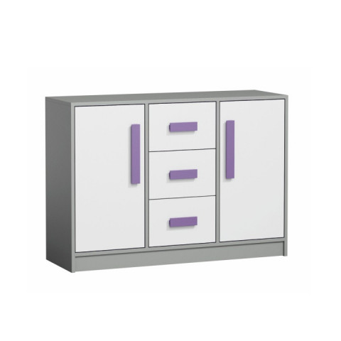 Komoda PIERE P06 - šedá/bílá/fialová