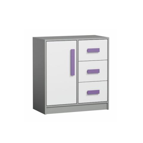 Komoda PIERE P07 - šedá/bílá/fialová