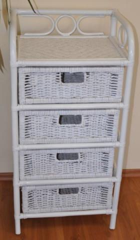 Ratanová komoda 4 zásuvky - bílá