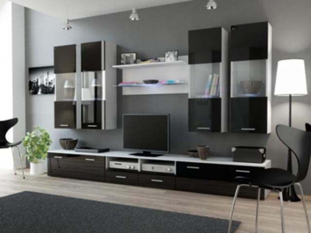 Obývací stěna DREAM I - bílá/černá