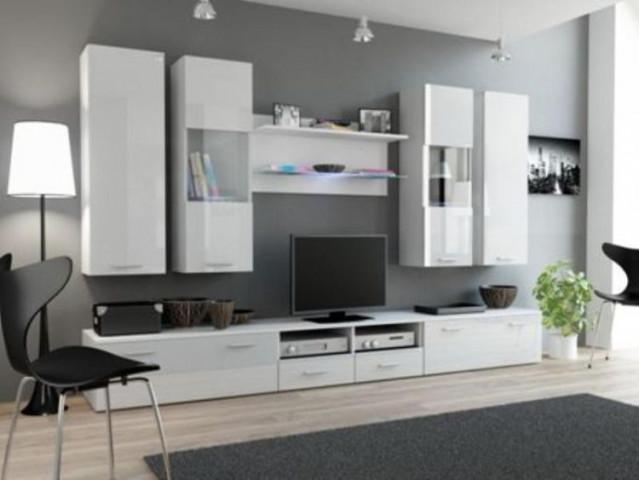 Obývací stěna DREAM II - bílá/bílá