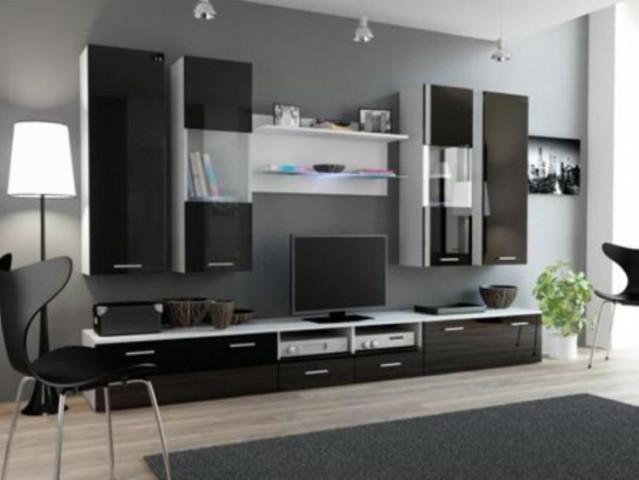 Obývací stěna DREAM II - bílá/černá