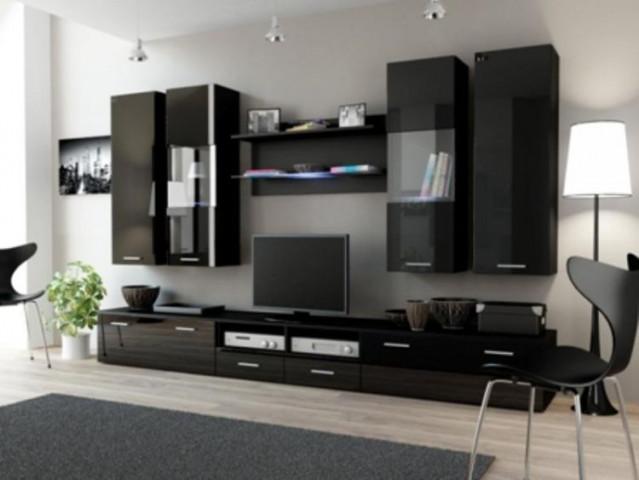 Obývací stěna DREAM II - černá/černá