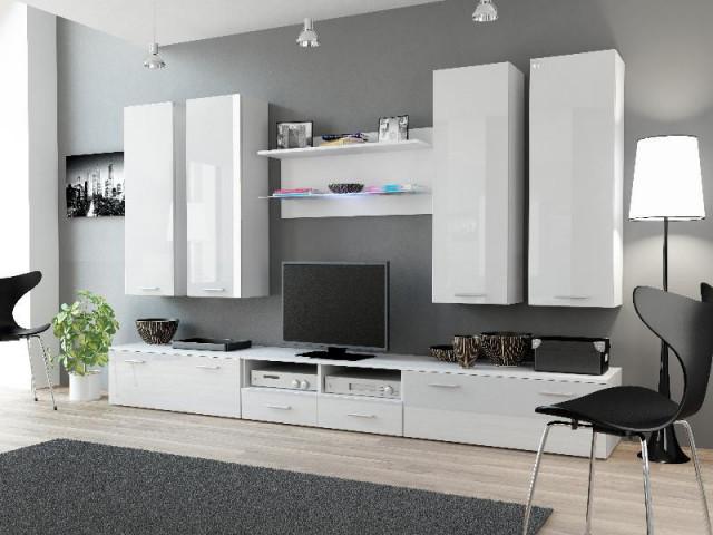 Obývací stěna DREAM III - bílá/bílá