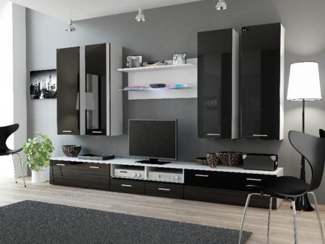Obývací stěna DREAM III - bílá/černá