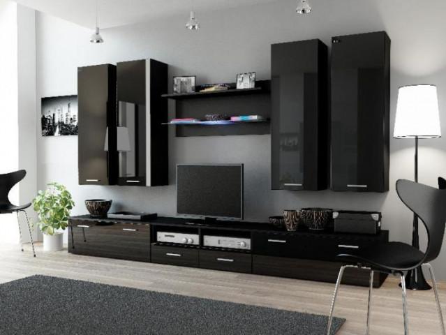 Obývací stěna DREAM III - černá/černá