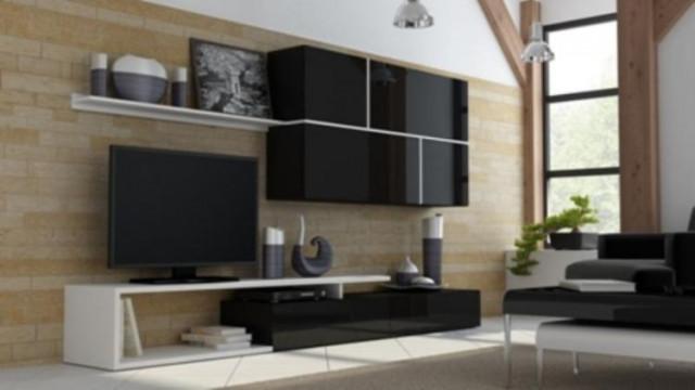 Obývací stěna GOYA - černá/černá/bílá