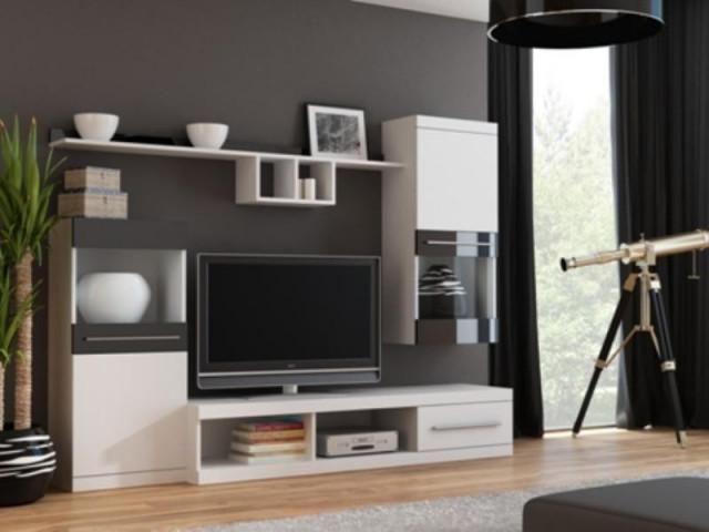 Obývací stěna NICK - bílá/bílá/černá