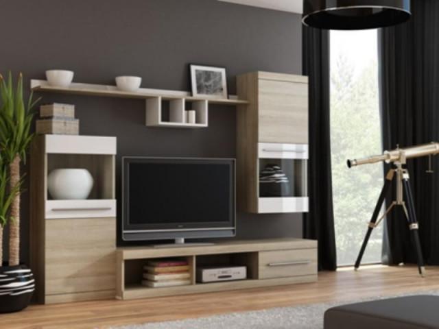 Obývací stěna NICK - dub sonoma/bílá