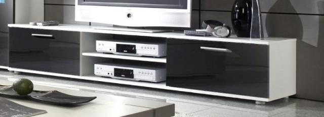 Televizní stolek Zara - bílý/černý